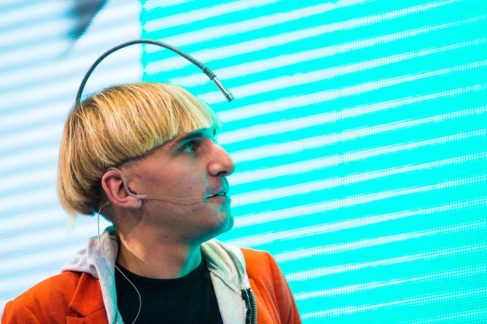 Northern Ireland-born Contemporary Artist 'Cyborg' Neil Harbisson Presents His Lecture 'Hear Colors' During at the Art&fashion Forum in Poznan Poland 18 October 2014 Harbisson is Contemporary Artist and Cyborg Activist Best Known For Creating the First Cyborg Antenna and For Being the First Person in the World to Have an Antenna Implanted in His Skull the Antenna Allows Him to Perceive Visible and Invisible Colours Such As Infrareds and Ultraviolets Via Sound Waves As Well As Receive Images As Sounds Videos As Sounds Music Or Phone Calls Directly Into His Head in 2004 He was Officially Recognized As a Cyborg by a Government Poland Poznan Poland Art&fashion Forum - Oct 2014 Mandatory Credit: Photo by Marek Zakrzewski/EPA/Shutterstock (8319699e)