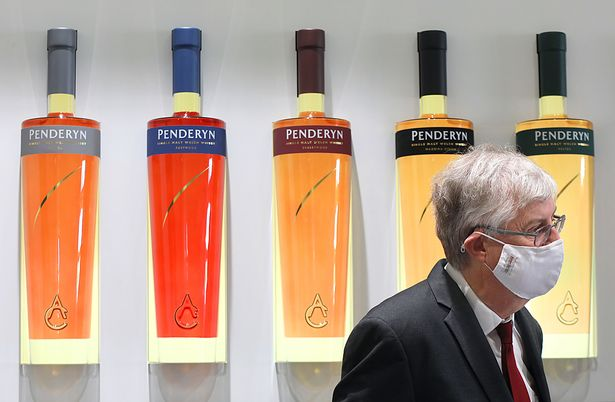 First Minister of Wales, Mark Drakeford and Minister for Rural Affairs and North Wales, Lesley Griffiths visiting Penderyn Distillery & Visitor Centre in Llandudno