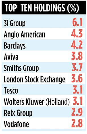 The fund is invested in 50 stocks, most of which are listed in the UK
