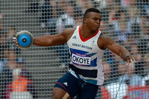 Lawrence Okoye won the discus on his return to a GB vest after nine years away