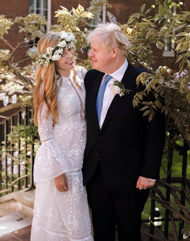 Boris Johnson and Carrie Johnson in the garden of 10 Downing Street after their wedding on Saturday