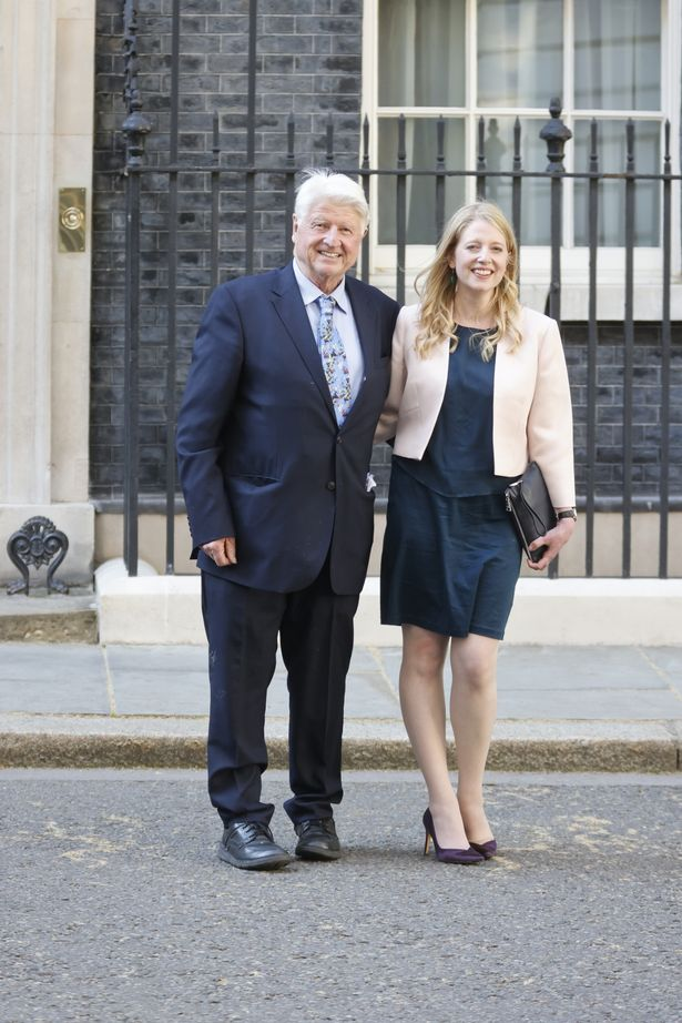 The PM's dad Stanley with his daughter Julia at Downing Street on Saturday