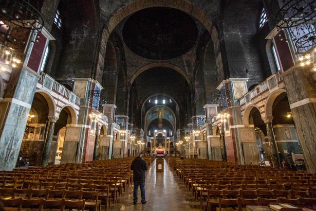 They exchanged vows inside Westminster Cathedral, which was cleared of tourists half an hour ahead of the ceremony