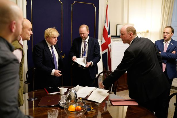 Dominic Cummings, other aides and Boris Johnson with Chief Medical Officer Chris Whitty on February 28 last year