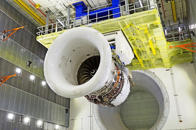 Rolls Royce's new Testbed 80 jet engine testing facility (pictured) at the firm's headquarters in Derby is larger than a football pitch and took three years to build at a cost of £90m