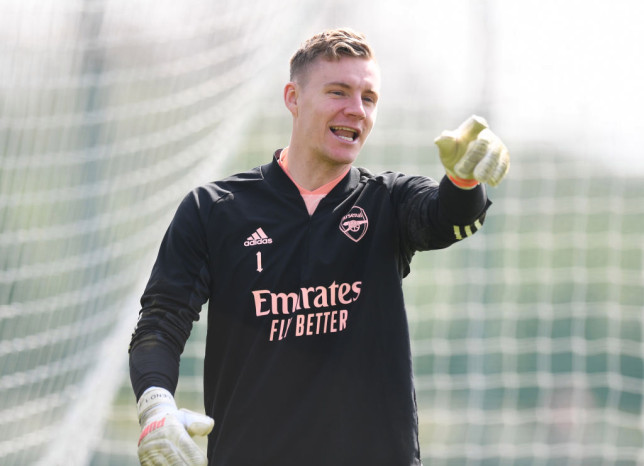 Bernd Leno of Arsenal during a training session at London Colney on April 14, 2021 in St Albans, England.