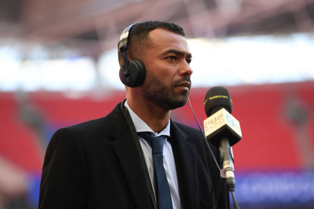 Ashley Cole, Pundit and former Chelsea player looks on prior to the Semi Final of the Emirates FA Cup match between Manchester City and Chelsea FC at Wembley Stadium on April 17, 2021 in London, England. Sporting stadiums around the UK remain under strict restrictions due to the Coronavirus Pandemic as Government social distancing laws prohibit fans inside venues resulting in games being played behind closed doors.