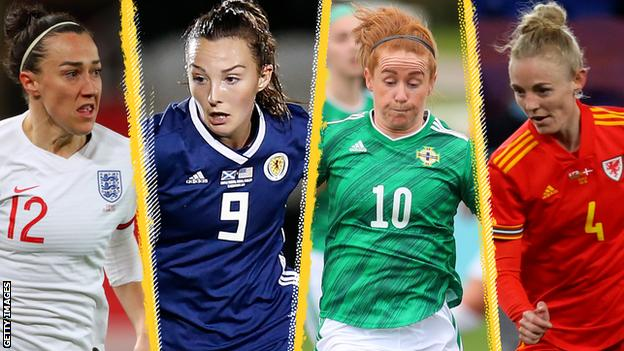 Lucy Bronze (left), Caroline Weir (second left), Rachel Furness (second right) and Sophie Ingle (right)