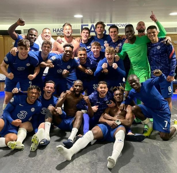 The Chelsea players were in high spirits as they celebrated their win over Real Madrid