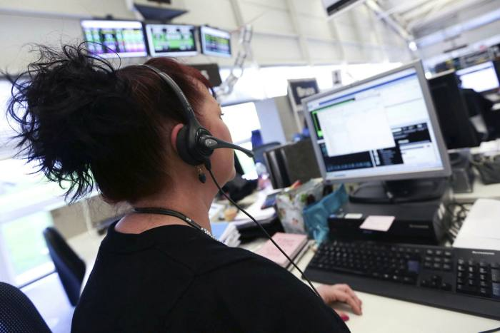 First Direct customer service representative at a call centre in Leeds, England