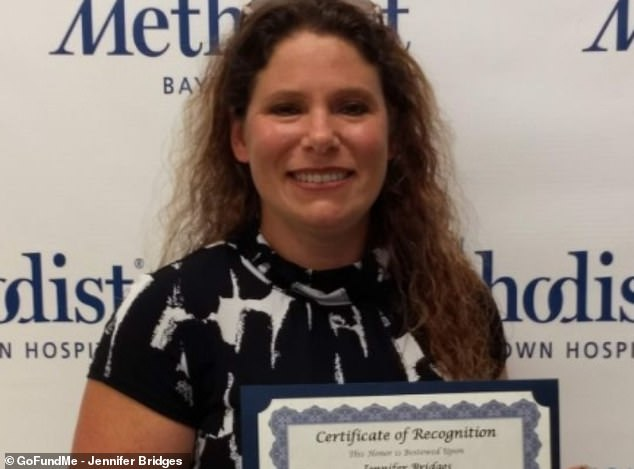 Jennifer Bridges (pictured) is among 117 employees suing a Houston hospital after it made coronavirus vaccinations mandatory for all of its 26,000 employees
