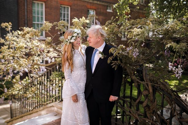The first picture from the PM's wedding to Carrie Symonds yesterday