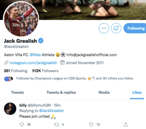 Jack Grealish liked a tweet which has fuelled speculation