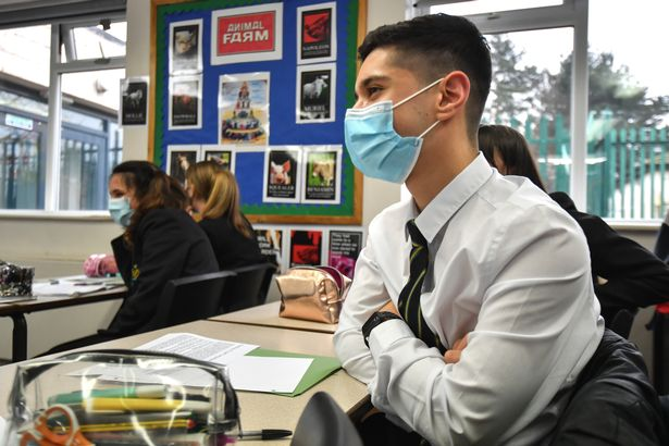 Pupils at Copley Academy wears face masks in class on March 09, 2021 in Manchester, England. England's schools re-open to pupils from March 8th, 2021 after closing for a third lockdown on Tuesday, January 5th, 2021.