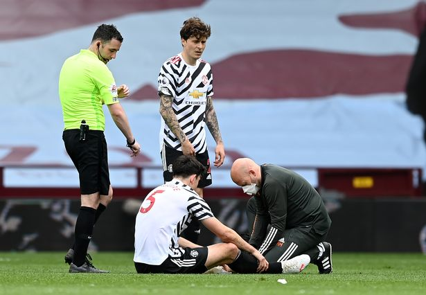 Harry Maguire was forced off injured at Aston Villa