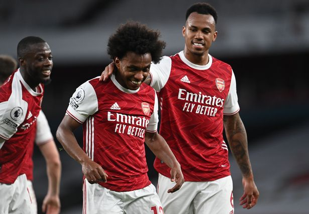 Willian curled in a free kick in the 90th minute to open his Arsenal account