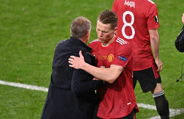 Ole Gunnar Solskjaer embraces Scott McTominay after Manchester United's Europa League final defeat to Villarreal