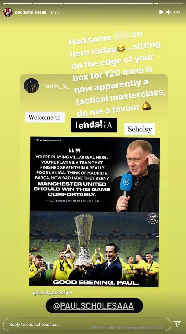 Scholes had some choice words for his critics on Instagram