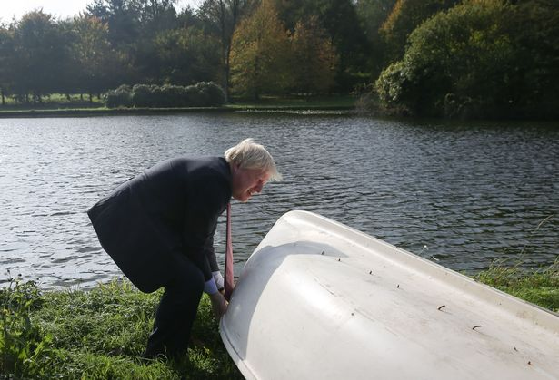 A file photo of Boris Johnson without a paddle at Chevening, the grace and favour retreat