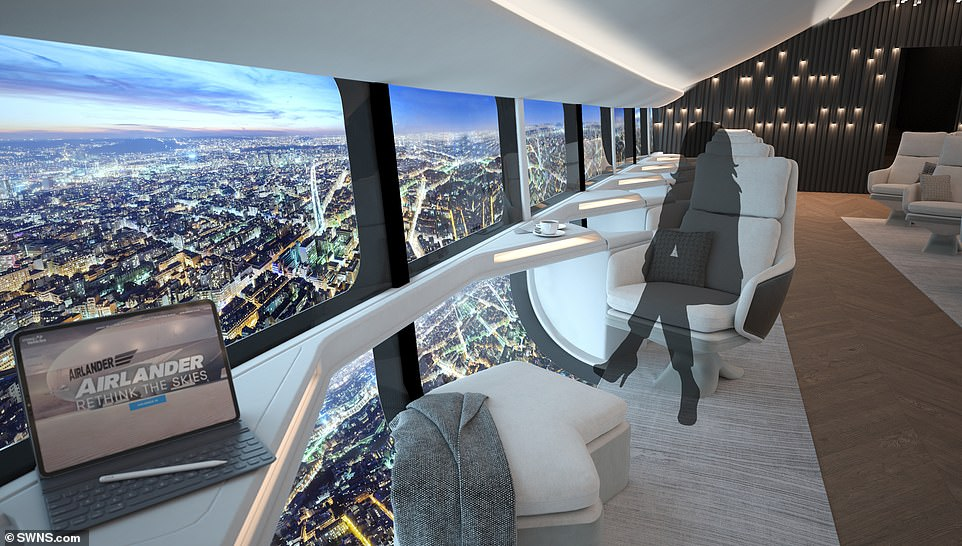 New concept pictures for the interior of the world's largest aircraft have been revealed, showing plush seats for up to 100 passengers and a 'wall' of windows