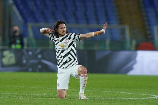 Edinson Cavani of Manchester United celebrates after scoring second goal during the UEFA Europa League Semi-Final match between AS Roma and Manchester United at Stadio Olimpico, Rome, Italy on 6 May 2021.