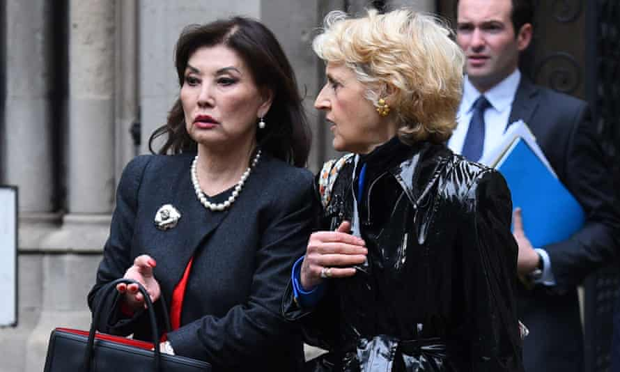 Lady Hiroko Barclay, left, leaves the high court following a 2019 preliminary hearing.