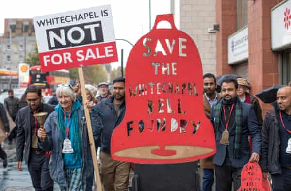 Campaigners marching to save the Whitechapel Bell Foundry in 2019.