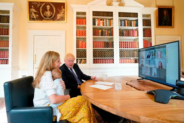 Boris Johnson with his fiancee Carrie Symonds and baby Wilfred
