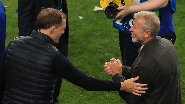 Thomas Tuchel, Manager of Chelsea and Roman Abramovich, Owner of Chelsea celebrate