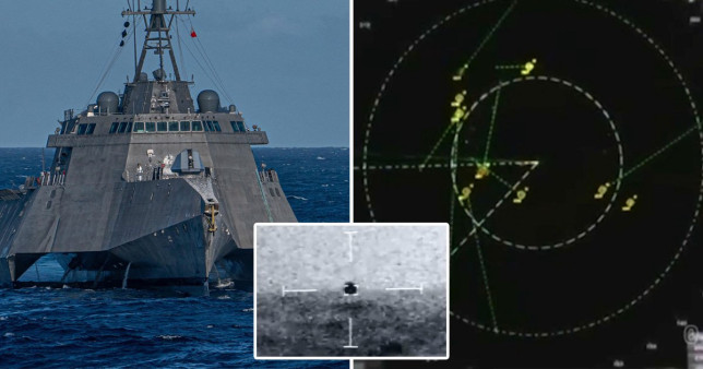 The USS Omaha was swarmed with UFOs back in July 2019 (Picture: US Navy; Jeremy Corbell; Fox 8 News)