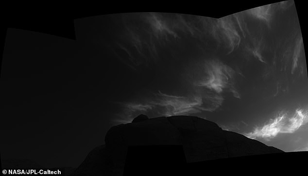 Using the navigation cameras on its mast, NASA's Curiosity Mars rover took these images of clouds just after sunset on March 31, 2021, the 3,075th sol, or Martian day, of the mission