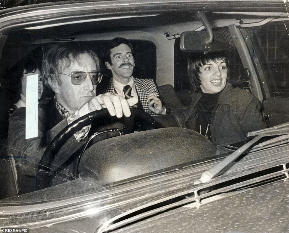 Late actor and comedy great Peter Sellers (driving) was the first owner of the Aston Martin, buying it from new in 1964. Here he is pictured drivingLiza Minnelli to Kensington in his Mercedes-Benz