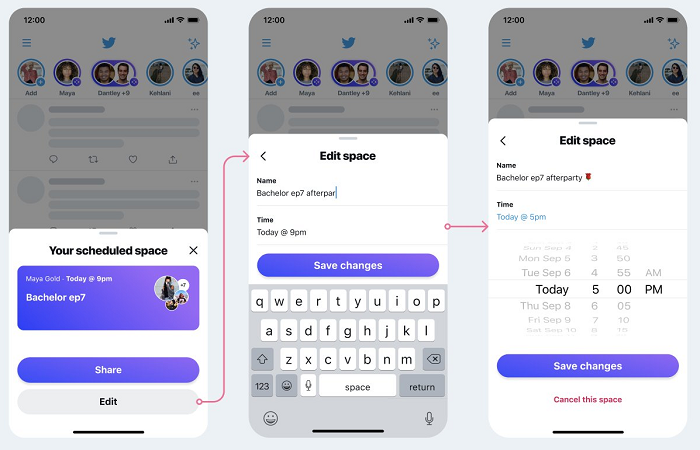 Twitter Scheduled Spaces editing