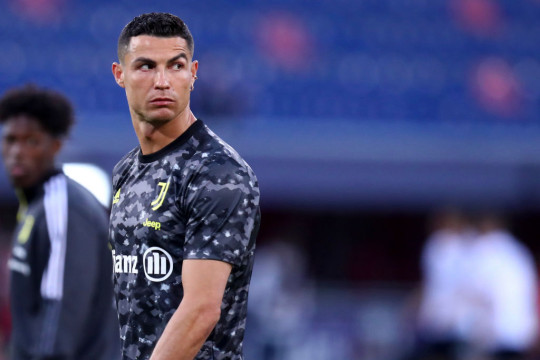 Cristiano Ronaldo of Juventus Fc warm up during the Serie A match between Bologna FC and Juventus at Stadio Renato Dall'Ara on May 23, 2021 in Bologna, Italy.