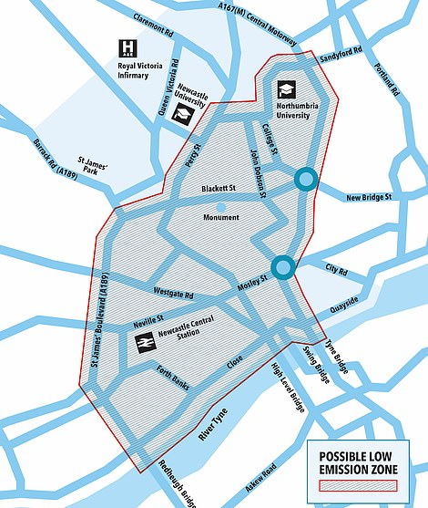 This is the proposed boundary for a clean air zone covering Newcastle's city centre
