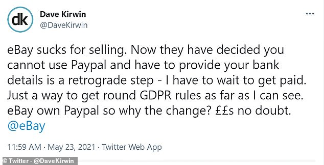 Annoyed: This eBay seller is frustrated after the changes mean he has to wait to get paid