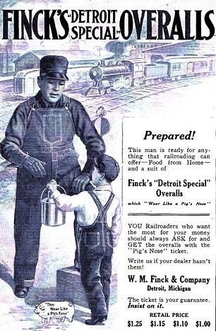 Pictured: an advertisement forFinck's 'Detroit Special' overalls. A button lost from a pair was also found in the Michigan Central Station