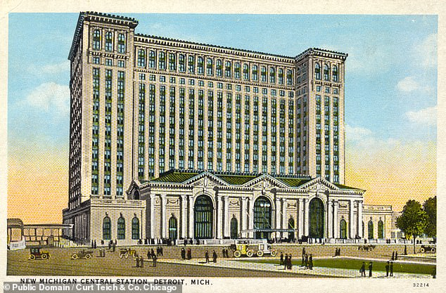 Long vacant, Michigan Central Station was bought by the Ford Motor Company in 2018. Renovations will see it transformed into a technology hub by late next year. Pictured: a postcard, dated back to 1913–15, shows the station in its heyday. The 21-acre building cost$15,000,000 to build, had 11 tracks and, according to the postcard's reverse, passengers' accommodations that would 'not be outdone by any railroad station in the world'