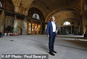 Pictured: Bill Ford Jr, Ford Motor Company's Executive Chairman, posing in the Michigan Central Station in Detroit in 2018 after his firm purchased the building