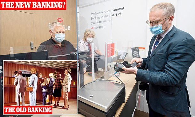 Handy: Toby Walne checks his balance inside the shared hub and, left, a bustling branch in the Seventies