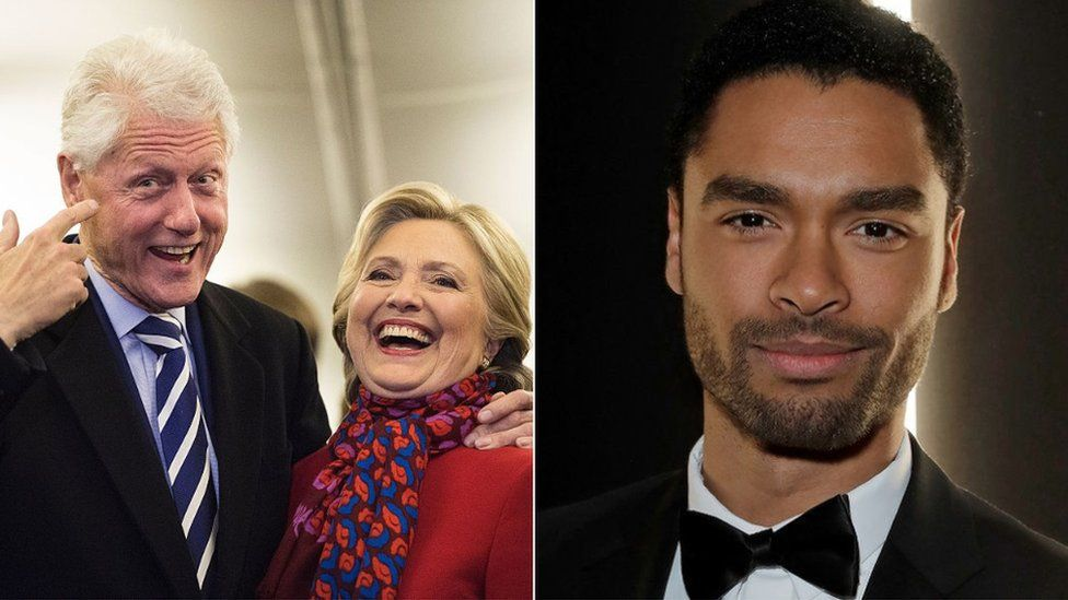 Bill and Hillary Clinton and Regé-Jean Page