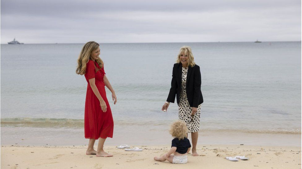 Carrie Johnson with Jill Biden and Wilfred Johnson