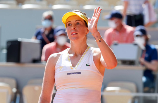 Anastasia Pavlyuchenkova of Russia celebrates her victory during day 12 of the French Open 2021, Roland-Garros 2021, Grand Slam tennis tournament at Roland Garros stadium on June 10, 2021 in Paris, France.