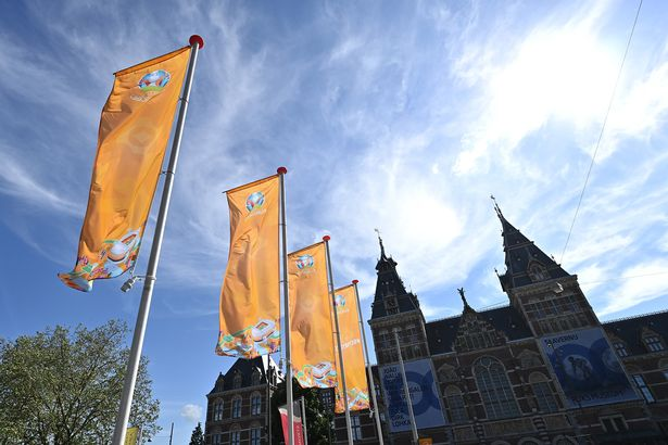 UEFA EURO 2020 Championship flags are seen in front of the Rijksmuseum, Amsterdam