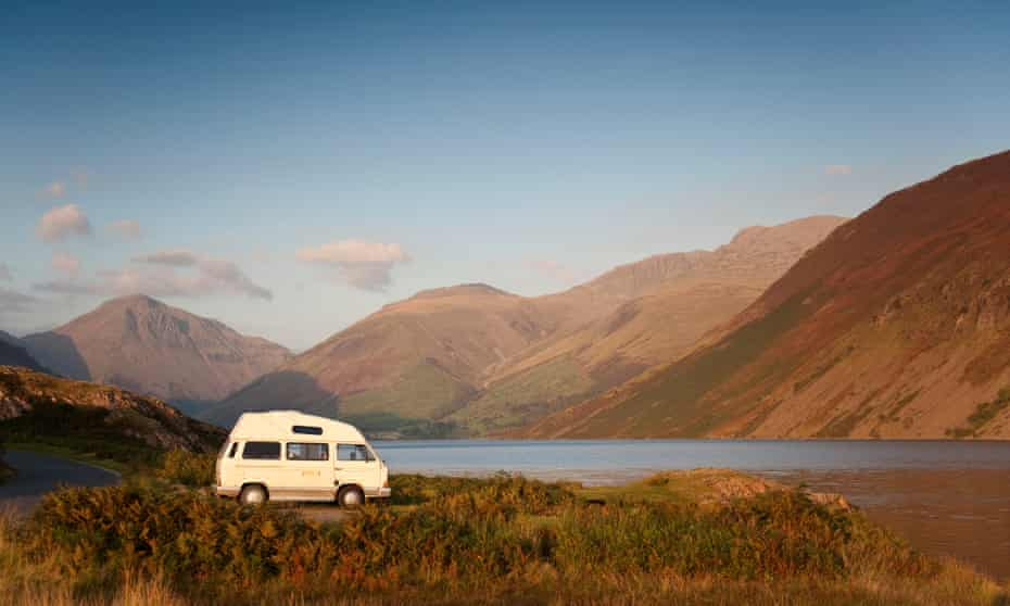 A campervan beside Wastwater, in the Lake District.