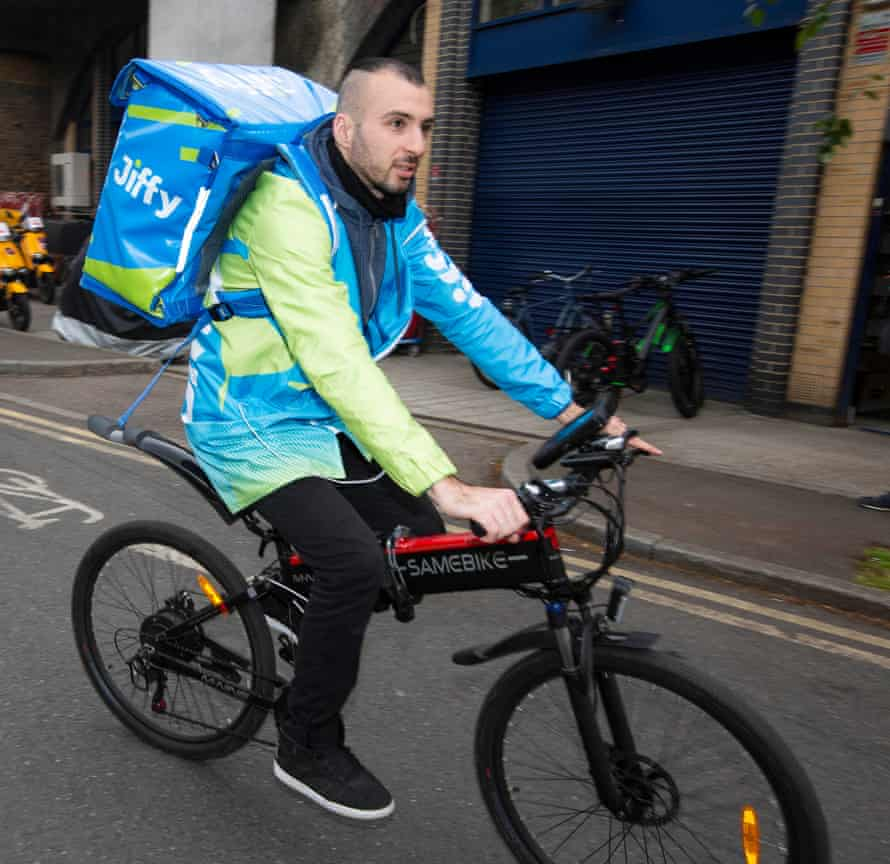 Georgi Georgiev, 29, delivers an order for Jiffy, which has six 'dark stores' in London.
