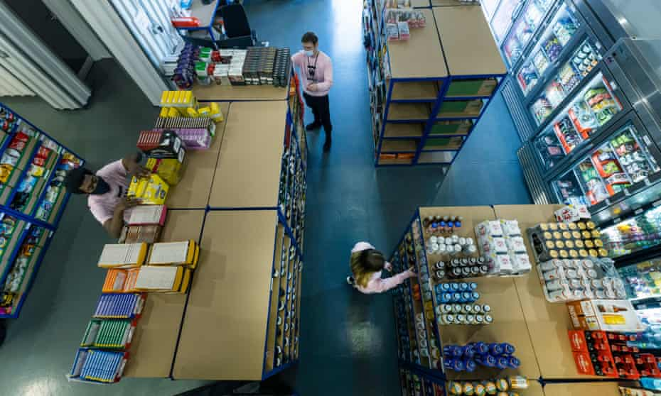 An aerial view of the store room at Weezy's depot in Salford, Manchester.