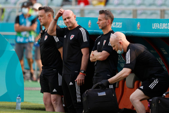 Rob Page looks on during Wales' clash with Switzerland