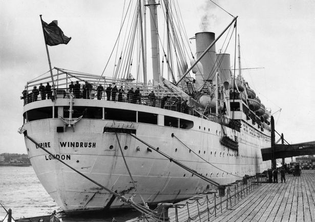 28th March 1954: The British liner 'Empire Windrush' at port.