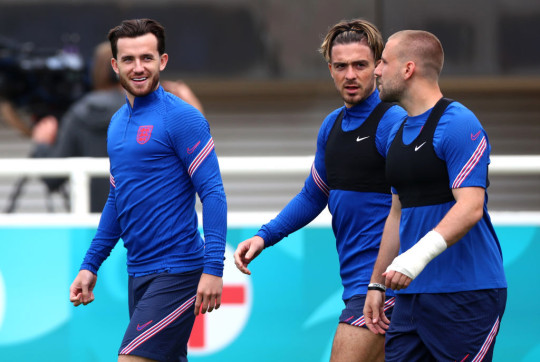 Ben Chilwell, Jack Grelish and Luke Shaw of England walk out ahead of the England Training Session ahead of the Euro 2020 Group D match between England and Croatia at St George's Park on June 12, 2021 in Burton upon Trent, England.